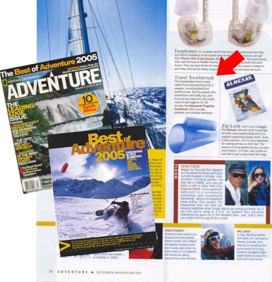 "National Geographic-The Best of Adventure 2005 Magazine Features the NO-SHANK ""Fingertip"" Toothbrush"
